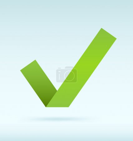 Illustration for Simple origami green tick. Vector image. - Royalty Free Image
