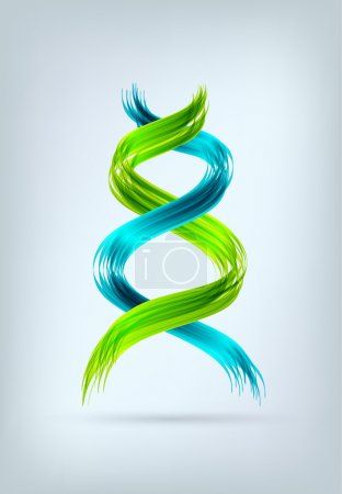 Illustration for Blue and green abstract spiral looking like DNA sign. EPS10 vector. - Royalty Free Image