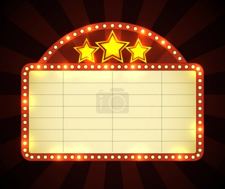 Illustration for Brightly glowing retro cinema neon sign. EPS10 vector. - Royalty Free Image