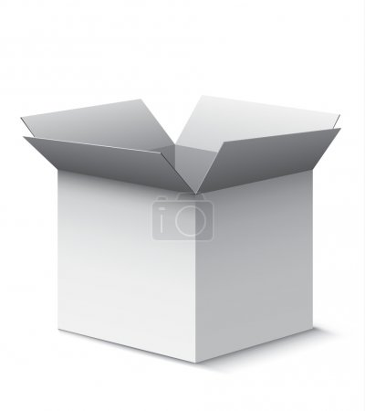 Ilustración de Abrir la caja gris con sombras realistas aisladas sobre fondo blanco. Eps10 vector - Imagen libre de derechos