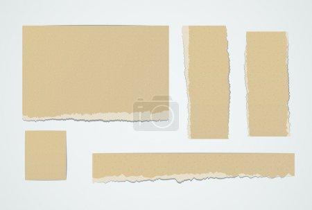 Illustration pour Ensemble de morceaux réalistes de papier brun déchiré. Eléments de conception vectoriels EPS10 . - image libre de droit