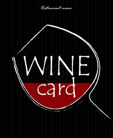 Illustration pour Concept d'une carte de vin. Image simple d'un verre avec du liquide rouge dedans. Illustration vectorielle . - image libre de droit