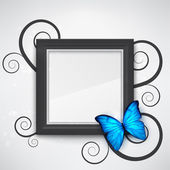 Dark empty frame on the wall with a bright blue butterfly on it EPS10 vector background