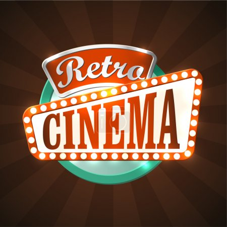 Illustration for Cool retro cinema sign. EPS10 vector image. - Royalty Free Image