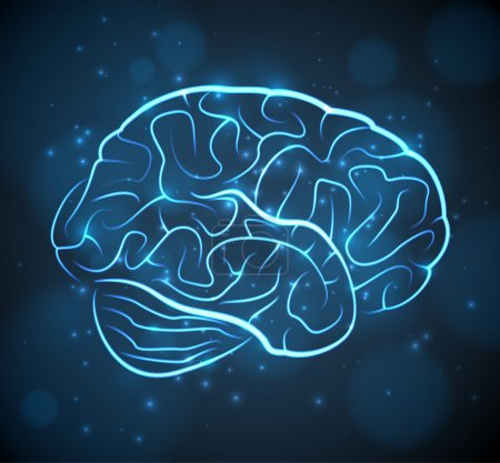 Illustration for Glowing blue brain contours on black background. EPS10 vector medical background. - Royalty Free Image