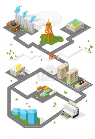 Illustration for City. Isometric buildings. Vector place. - Royalty Free Image