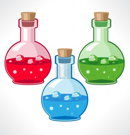 Flasks with various medical or magical means.