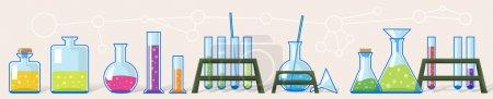 Chemical laboratory. Set of tubes.