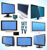Set of 8 vector plasma LCD TV display