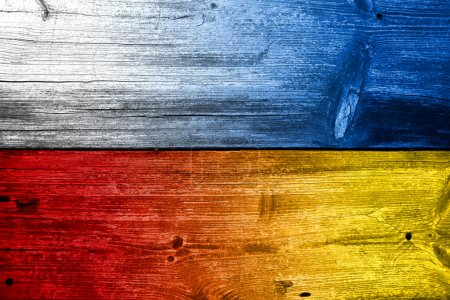 Poland and Ukraine Flag painted on old wood plank texture