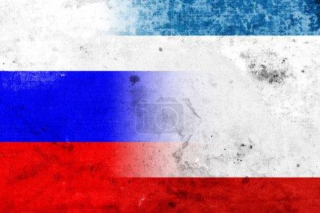 Grunge Autonomous Republic of Crimea and Russia Flag