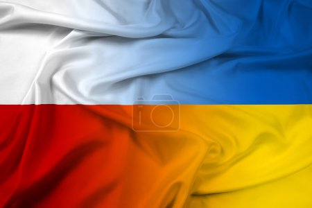 Waving Poland and Ukraine Flag