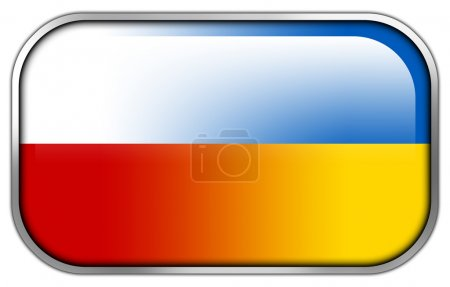 Poland and Ukraine Flag rectangle glossy button