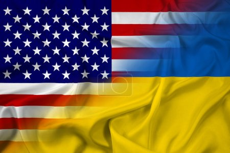 Waving Ukraine and USA Flag