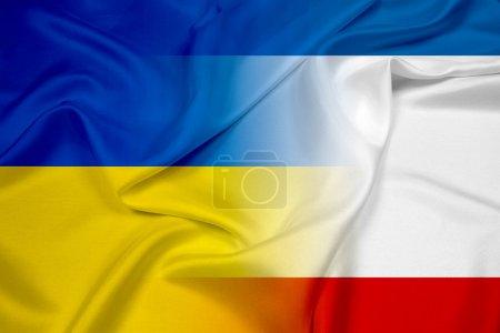 Photo pour Drapeau ondulant autonome de République de Crimée et l'ukraine - image libre de droit