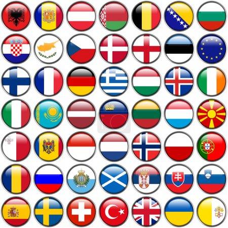 Photo pour Tous les drapeaux européens - boutons brillant cercle. chaque bouton est isolé sur fond blanc. - image libre de droit