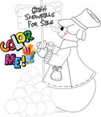 Cute snowman to color with a carrot nose and giant snowballs for sale
