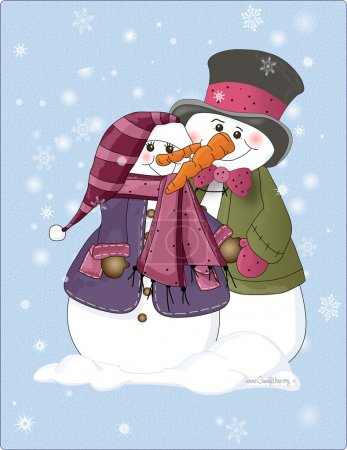Snow Couple with Top Hat
