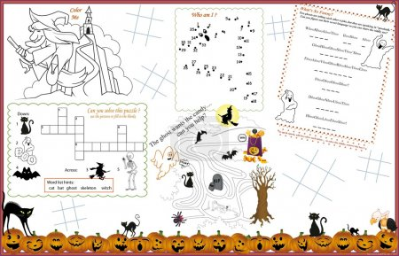 Placemat Halloween Printable Activity Sheet  2