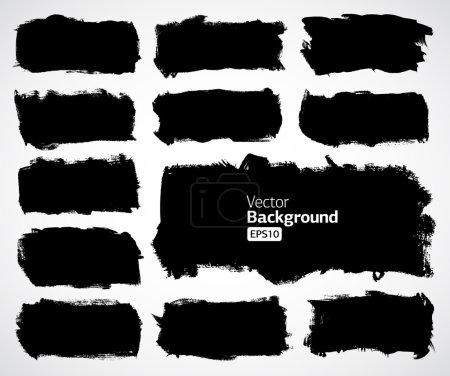 Illustration for Vector black grunge ink banners set - Royalty Free Image