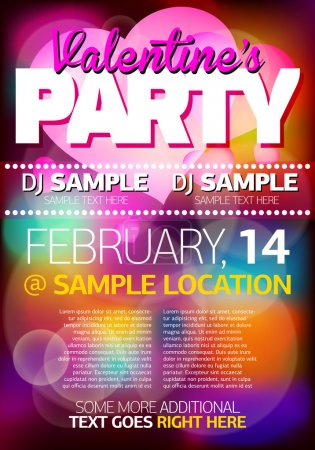 Illustration for Valentines Party Flyer/Poster - Royalty Free Image