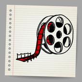 Cinema film roll and red carpet illustration
