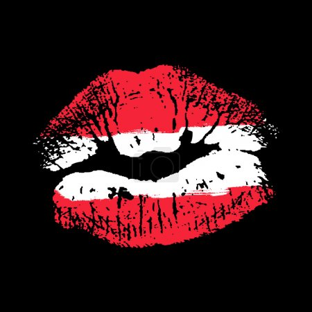 Illustration for Flag lipstick on grunge lips - Royalty Free Image