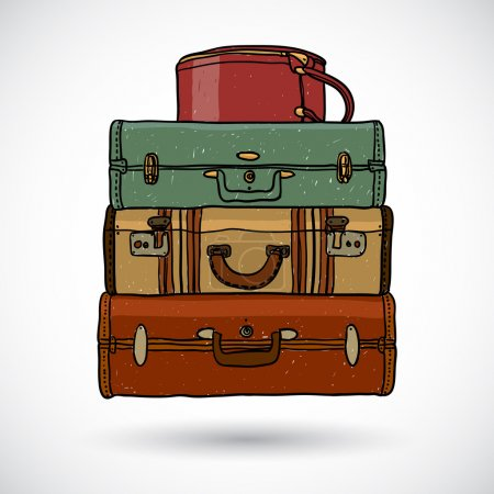 Illustration for Suitcases in doodle style - Royalty Free Image