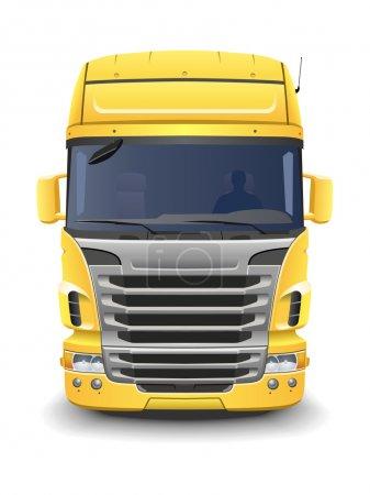 Illustration pour Camion européen jaune sur fond blanc . - image libre de droit