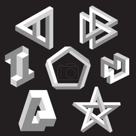 Illustration pour Symboles d'illusion d'optique. Illustration vectorielle . - image libre de droit