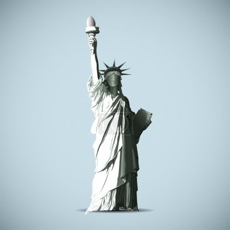Illustration for Statue Of Liberty Vector Black Shadows Silhouette - Royalty Free Image