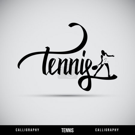Illustration pour Lettrage à la main Tennis - calligraphie artisanale, vecteur - image libre de droit
