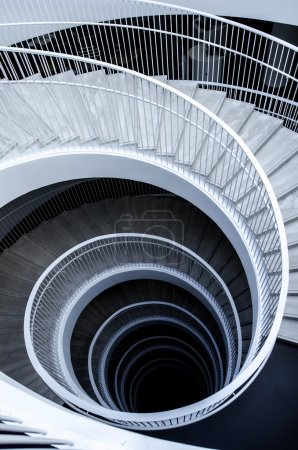 Graphic spiral stairs