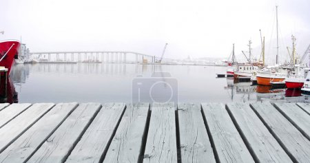Boats in a winter Harbour and a Bridge