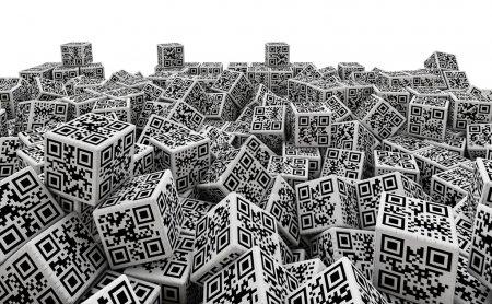 QR code dice pile