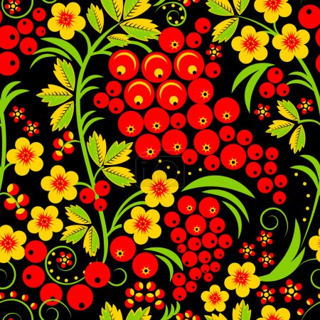 Traditional russian Hohloma style seamless pattern. Vector illus