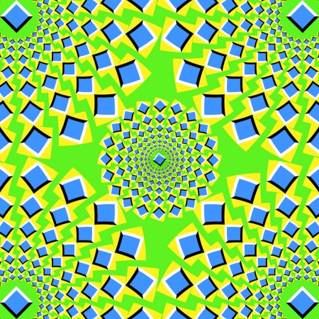 Illustration pour L'illusion optique du mouvement exécuté sous forme de carrés pulsants - image libre de droit