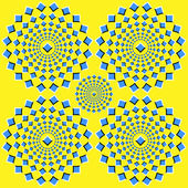 The optical illusion of movement executed in the form of squares running up from the center