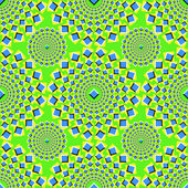 Abstract seamless background with bright optical illusion of movement executed in the form of pulsing squares
