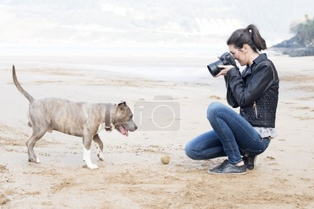 Young woman taking pictures of your dog, outdoor.