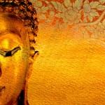 Buddha gold statue on golden background patterns T...