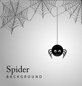 Cute spider and webs over gray background