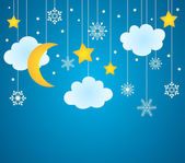 Vector blue background with hanging clouds moon stars and snowflakes