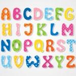 Cute textured sticker alphabet, vector illustratio...