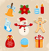 Collection of colorful Christmas stickers