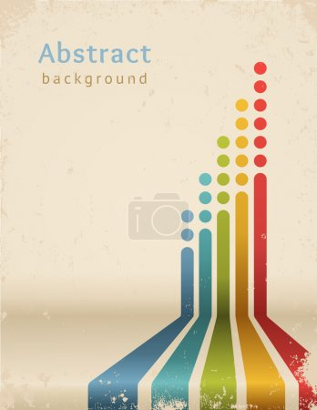 Illustration for Colored stripes with circles, vector. Grunge design template. - Royalty Free Image
