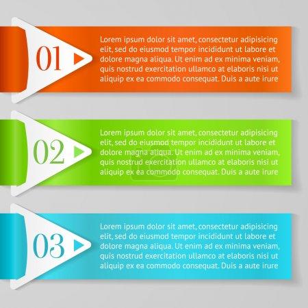 Illustration pour Vecteurs Un, Deux, Trois étiquettes progressives avec des flèches sur fond gris, vecteur - image libre de droit