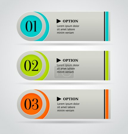 Horizontal colorful options banner template. Vector illustration