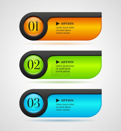 Shine horizontal colorful options banners buttons template. Vector illustration
