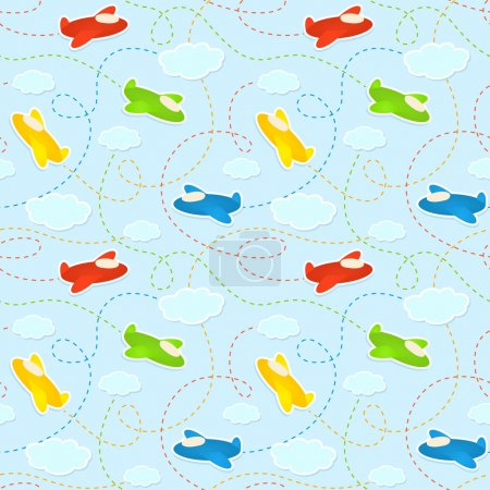Blue seamless pattern with clouds and airplane stickers.